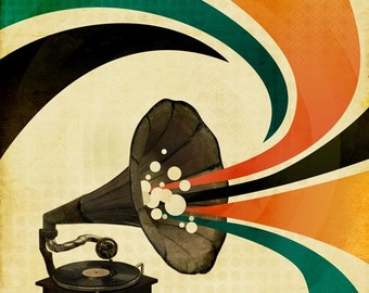 The Gramophone - Music Art - Gramophone Art -  8x10 Art Print