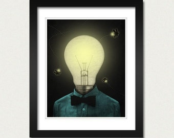 Fireflies 8x10 Art Print - Light Bulb Night Bowtie