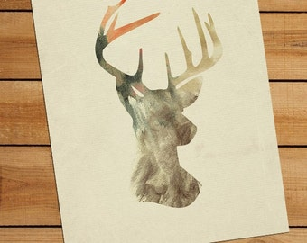 Deer Art - Antler Art - Deer Silhouette 8x10 Art Print