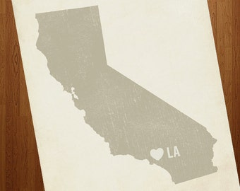 Los Angeles Art - I Love LA 8x10 Art Print - Los Angeles California City State Heart