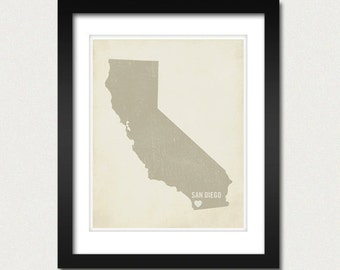 I Love San Diego 8x10 Art Print - California City State Heart