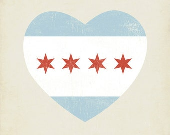 Chicago Flag Heart 8x10 Art Print