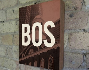 Boston BOS - Wood Block Art Print
