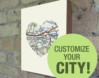 City Maps - City Prints - City Art - Map Art - Map Print - Heart Map - Wood Block Art Print