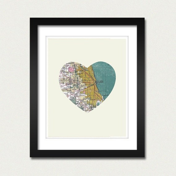 Chicago Art City Heart Map 8x10 Art Print