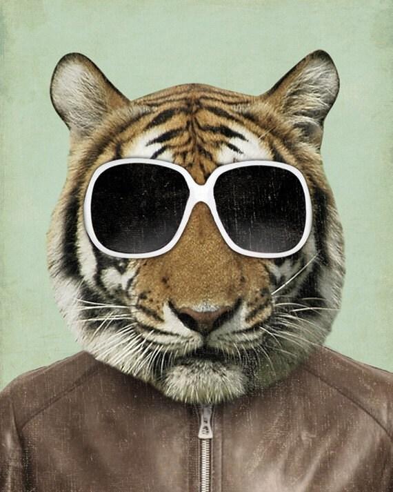 Tiger Art - The Cool Tiger in Sunglasses - Tiger Art Print - 8x10 Art Print