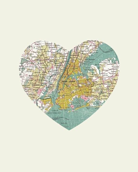 New York Art City Heart Map 8x10 Art Print