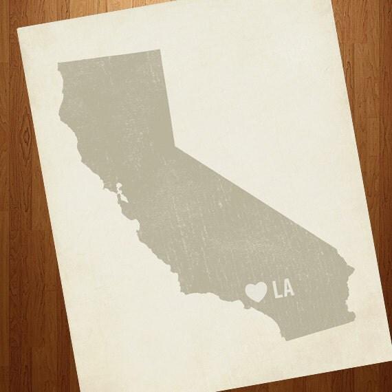 Los Angeles Art - I Love LA 8x10 Art Print - Los Angeles California City State Heart