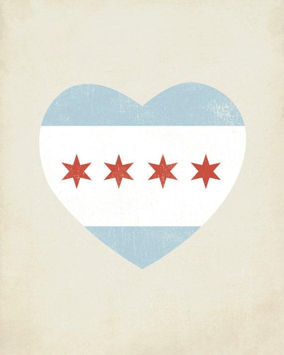 Chicago Flag Heart 8x10 Art Print