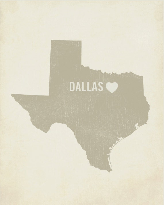 I Love Dallas 8x10 Art Print - Texas City Heart