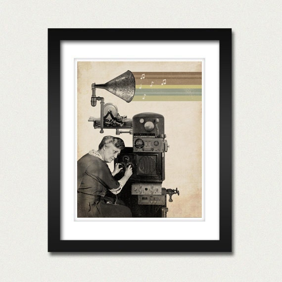 The Music Maker - 8x10 Art Print - Music Art - Steampunk - Vintage Art