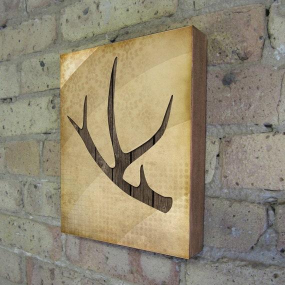 deer antler wood block art