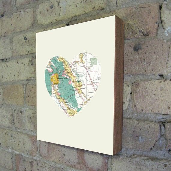 San Francisco California Art City Heart Map - Wood Block Art Print
