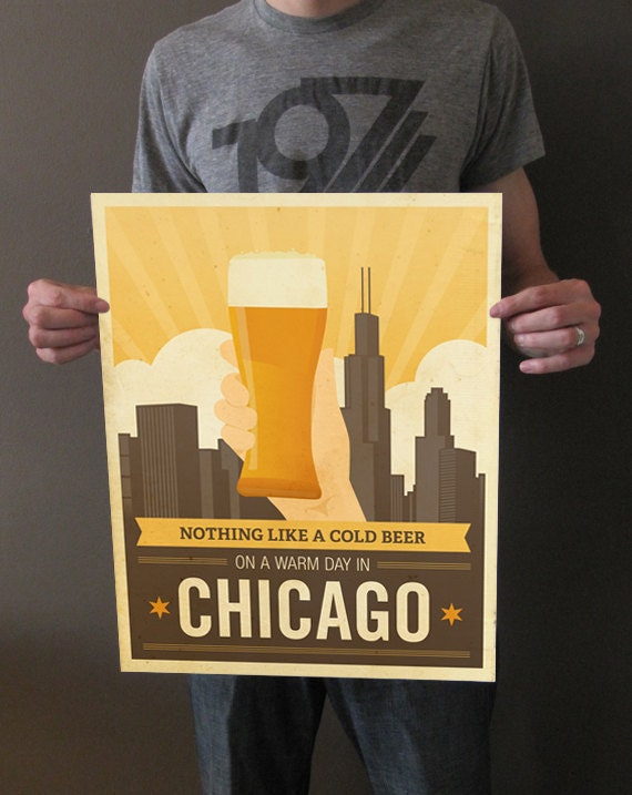 Nothing Like a Cold Beer on a Warm Day in Chicago - 16x20 Art Print