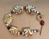Coffee Jewelry Creamy White Carmel Macchiato Brown Glass Bead Bracelet