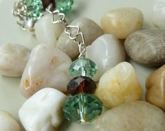 Mint Chocolate Chip Earrings, Love Chain Earrings, Peridot & Chocolate Topaz Heart Chained Crystal Earrings, Fashion Earring