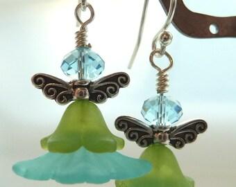 Aquamarine Swarovski Angel Flower Earrings
