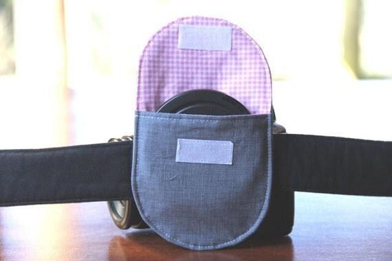 Camera Strap Lens Cap Pocket - holds up to 77mm