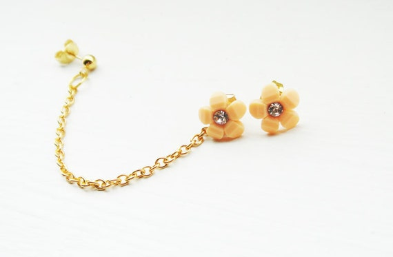 Ear Cuff Chains Gold Pair Peach Flower Studs Rhinestones Ear Wrap Earcuff