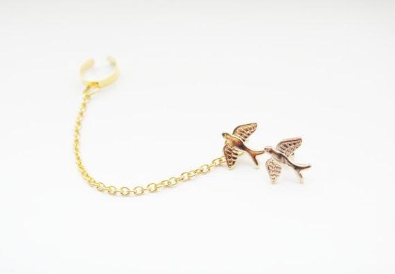 Ear Cuff Chains Gold Bird Studs Ear Wrap Earcuff