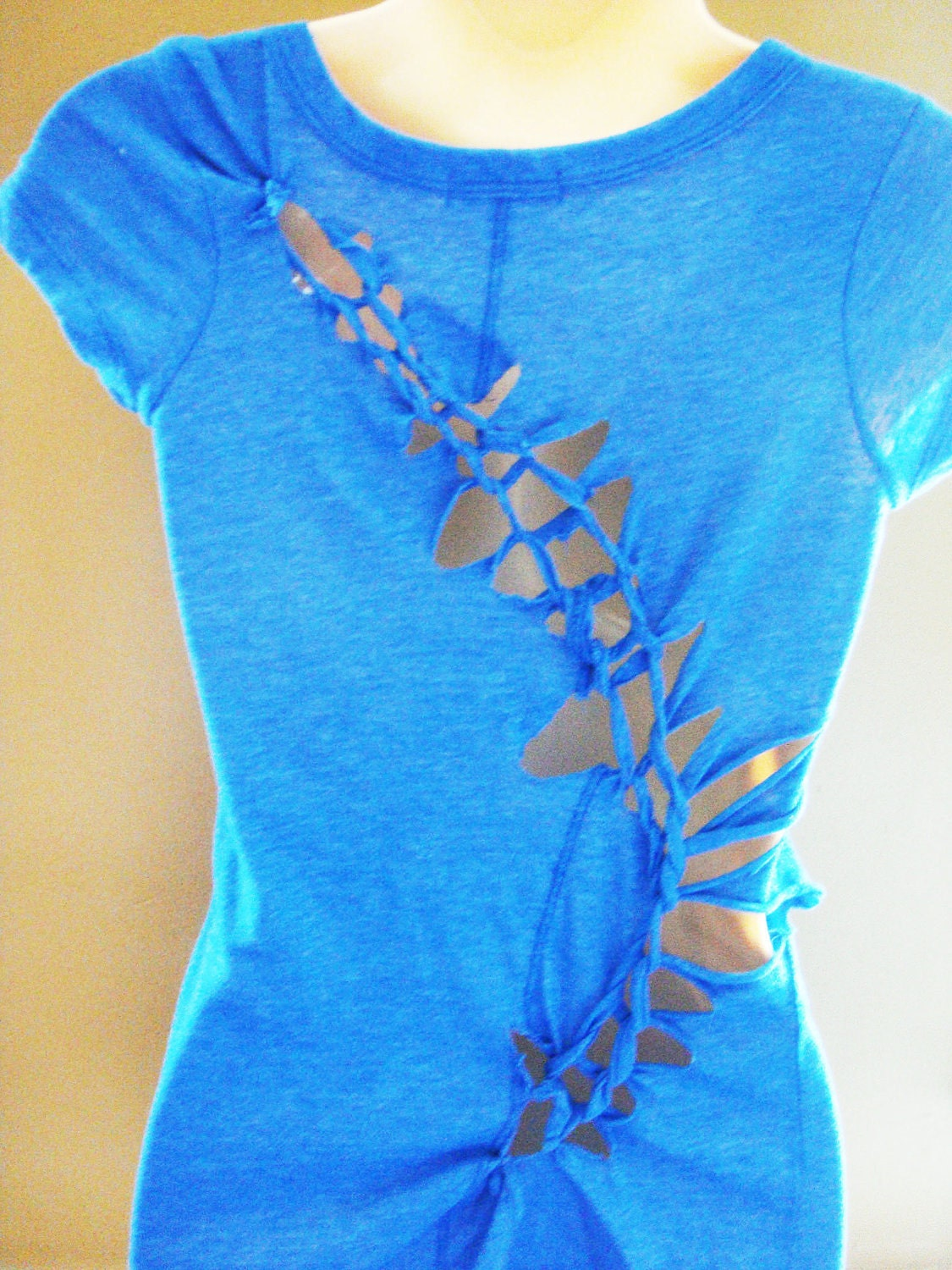 T shirt blue cut up weaved unique for How to copyright at shirt design