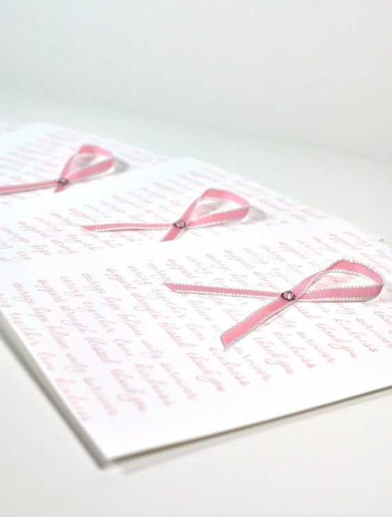 Breast Cancer Ribbon Cards Set of 6 with Envelopes