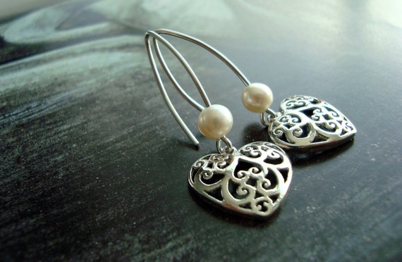 Valentines Earring Sterling Silver Heart Filigree With White Freshwater Pearls