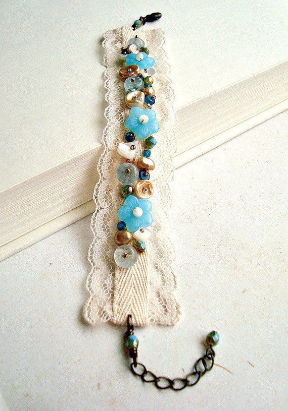 Vintage Lace Cuff Bracelet in Blue, Cream, and Gold: 15% off
