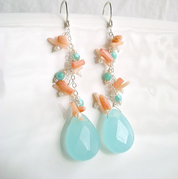 Peach Coral Aqua Quartz Earrings, Sterling Silver Coral Quartz Dangle Earrings With Seed Pearls:  Reserved for Kim