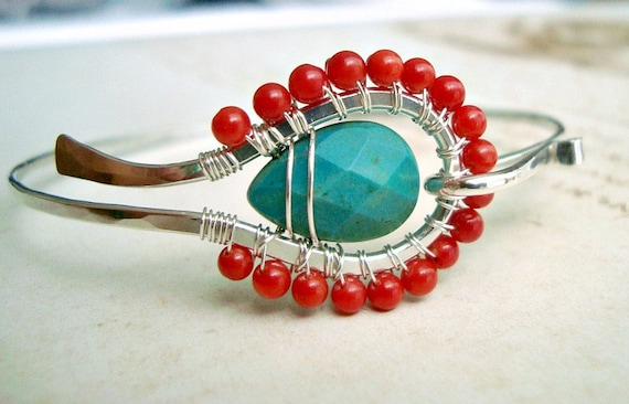 Turquoise Red Coral Bangle, Sterling Silver Hammered Bangle With Faceted Turquoise and Red Coral