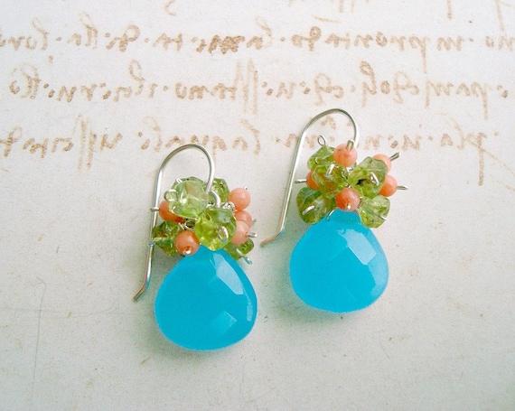 Aqua Peach Peridot Cluster Earrings, Sterling Silver Quartz, Coral and Peridot Earrings