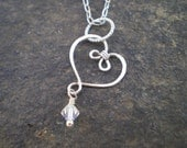 Hand Formed Wire Heart - Pendant - Necklace