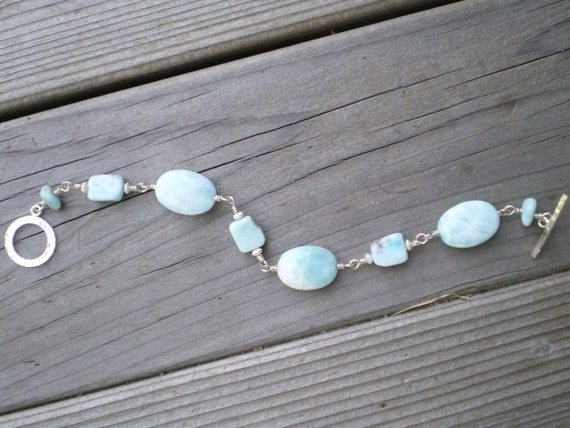 Larimar Bracelet Large Oval and Flat Nugget Beads