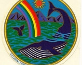 Vintage 80's Illuminations Rainbow Whale Sticker