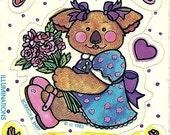 Vintage 80's Illuminations Koala Bear ROSE Scratch and Sniff Sticker