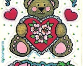 Vintage 80's Illuminations FLOWERS Teddy Bear Scratch and Sniff Sticker
