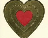 Vintage 80's Illuminations Embossed Foil Heart Sticker