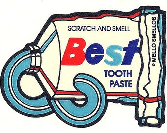 Vintage 80's Mello Smellos MINT TOOTHPASTE Scratch and Sniff Sticker