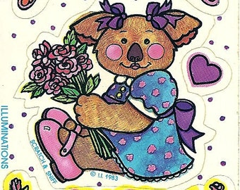 Vintage 80's Illuminations Koala Bear ROSE Scratch and Sniff Sticker