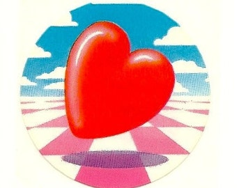 Vintage 80's Lisa Frank Abstract Heart Sticker