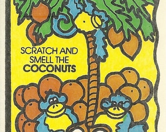 Vintage 80's Mello Smellos COCONUT Monkeys Scratch and Sniff Sticker