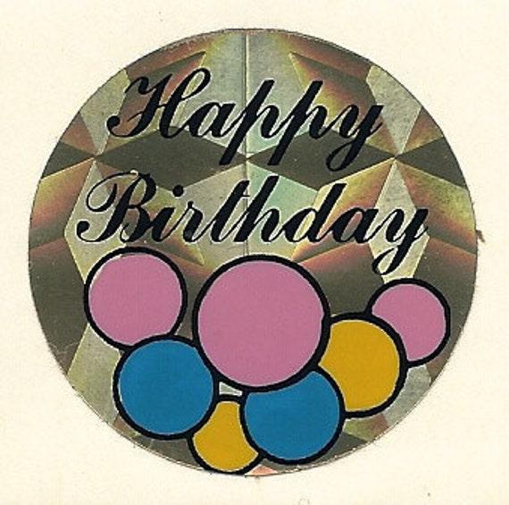 Vintage 80's Prism Happy Birthday Balloons Sticker
