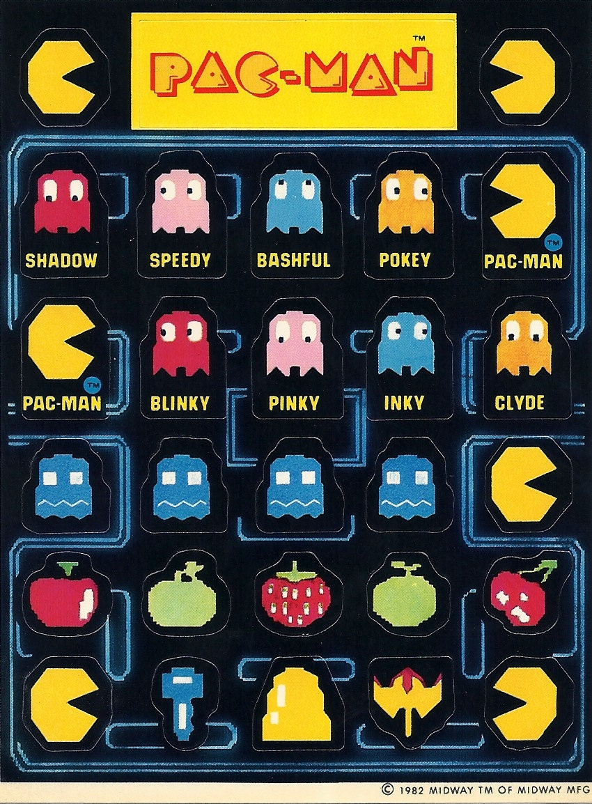 Vintage 80's Pacman Sticker Sheet. Attiude Stickers. Spine Logo. Bulb Banners. Doc Mcstuffins Banners. Coffee Shop Signs. Bt Phone Stickers. Marriage Decals. Possum Murals