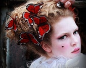 Butterfly hair clip Monarch - RED