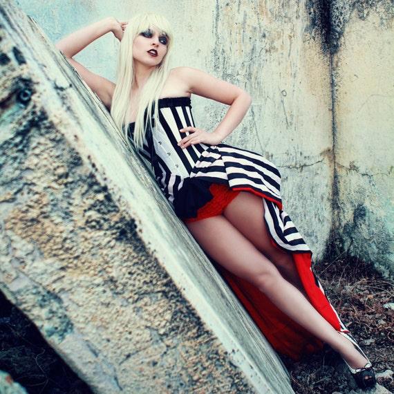 Black and white stripe bustle skirt - Tim Burton , Victorian, Couture