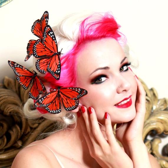 Monarch Butterfly hair clip - ORANGE