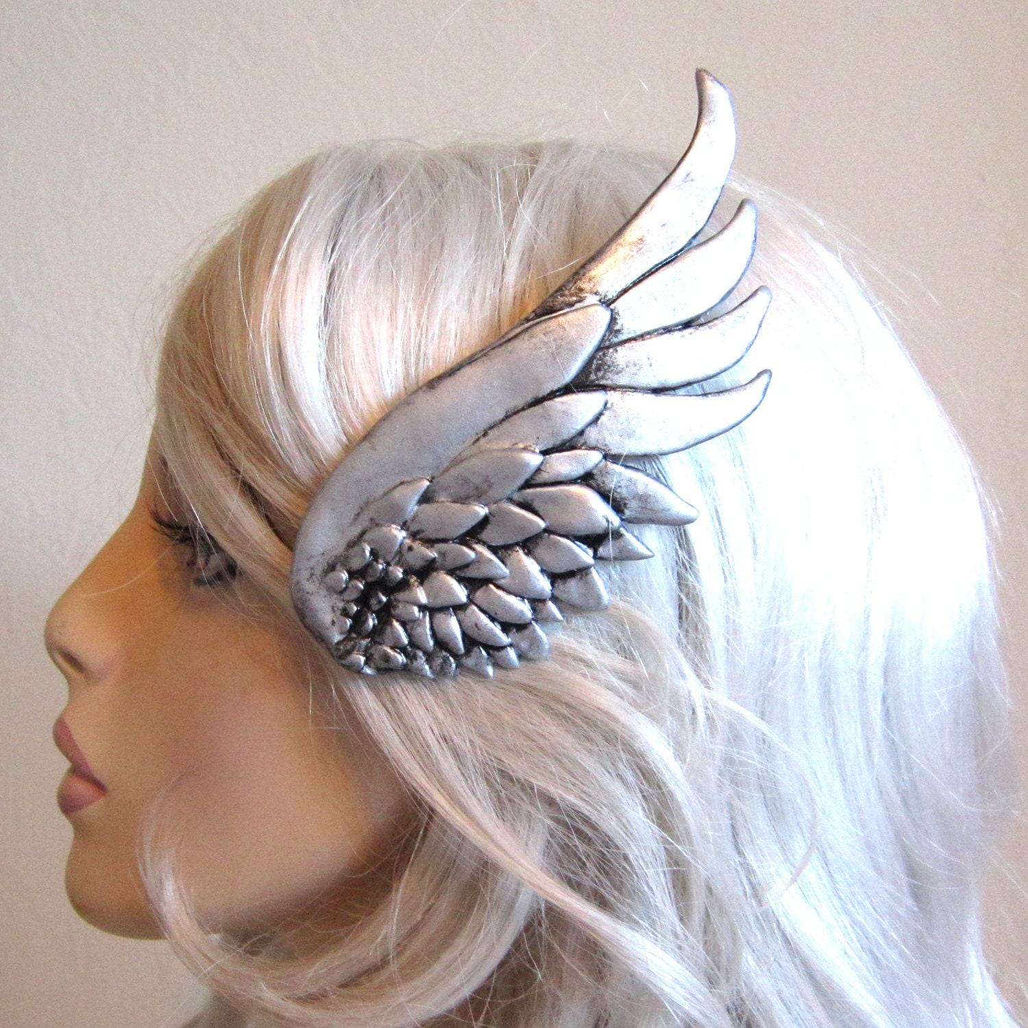 silver wing hair clip left side valkyrie mercury
