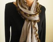 Coffee scarf/shawl with ruffles