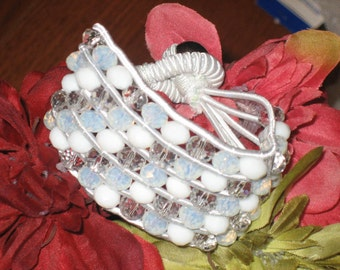 Stretch Crystal Opaque White Woven Bracelet, Braided, FREE SHIPPING