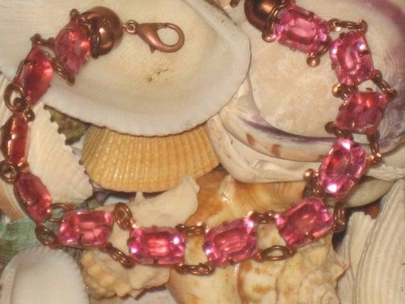 FREE US SHIPPING Vintage Hot Pink Bracelet